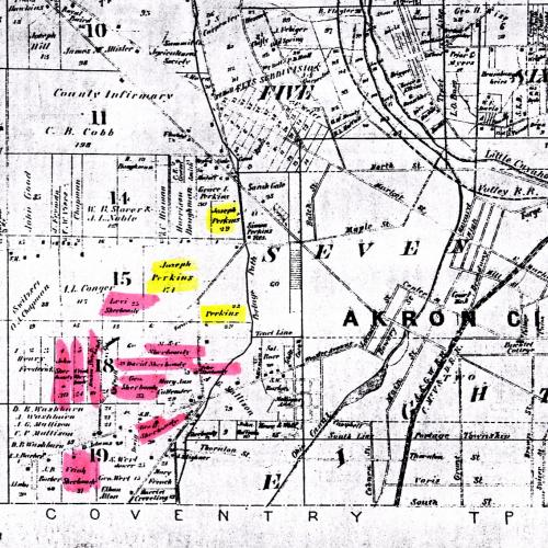 Historic Map of Sherbondy Hill from 1874! (district in pink)